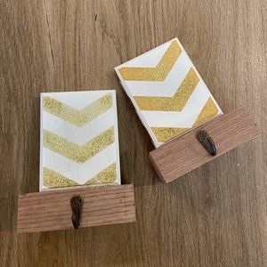 Gold chevron stocking holders
